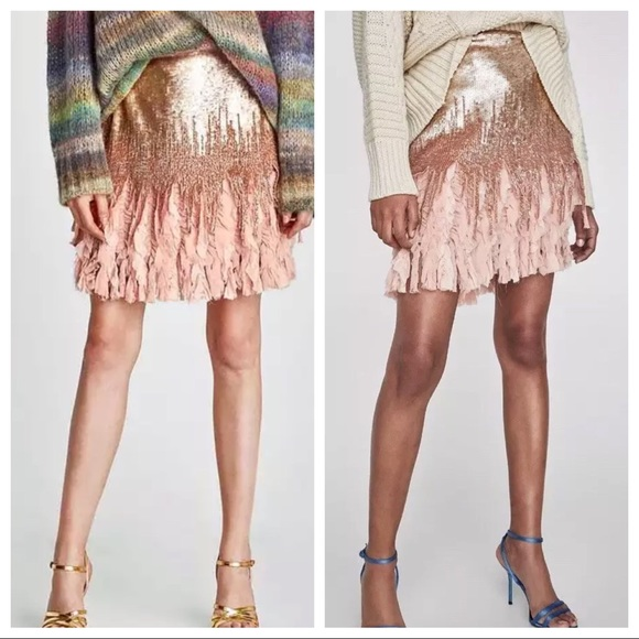 4b98f7152e ZARA SEQUIN Rose Gold Blush Pink Skirt in SMALL